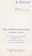 Roma - Santino DON ARMANDO GIOVANNINI, SACERDOTE  NOVELLO, Santuario Regina Apostolorum (7 Luglio 1957) - PERFETTO N47b