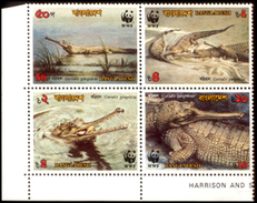 Bangladesh, 1990, WWF, MNH, Set Of 4 Stamps In Block, Gavials Crocodile, Reptiles, W.W.F., Animals, Fauna, Mint. - W.W.F.