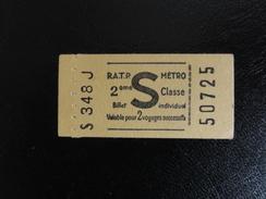 Ticket Métro Paris - Lettre S - Non Perforé - Europe