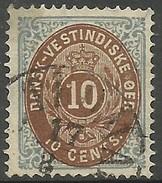Danish West Indies - 1876 Numeral  10c Greyish-blue & Brown Used  Sc 10