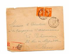 Devant De Lettre Recommandee Paris 69 - Postmark Collection (Covers)