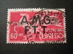 TRIESTE - AMGFTT. 1947-48, ESPRESSO, L. 60 Rosa Carminio, Usato Perfetto - 7. Triest