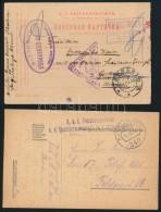 4 Db KuK I. VH Tábori Postai LevelzÅ'lap, Közte Egy Lap Orosz Hadifogolytáborból...