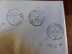 Lot Du 27.04.17_LAC De Lyon A Sur N°14 ,,variété? De  Janvier 1855 ,tres Rare Cachet  Au Verso  !! Ind 27 - 1849-1876: Classic Period