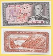 Iran 20 Rials P-100a 1974 UNC - Iran