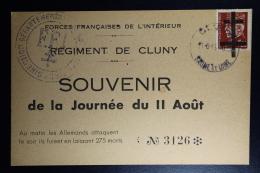 France Liberation: Carte Régiment De Cluny Souvenir De La Journée De 11 Aout FFI - Libération