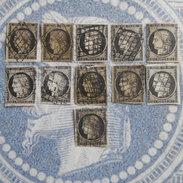 LOT  DE  11   TIMBRES   20C   CERES   1 JANVIER   1849   DIFFERENTES   TEINTES - 1849-1850 Cérès