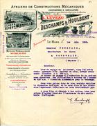 72.SARTHE.LE MANS.MOTEURS HYDRAULIQUES.MOTEURS A GAZ PAUVRE.MACHINES A VAPEUR.DESCHAMPS & HOULBERT. - France