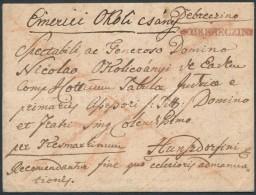 1816 Portós levél / unpaid cover piros / red 'v DEBRECZIN' - Hunzdorfini
