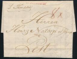 1789 Portós levél / unpaid  cover, piros / red 'v.Temeswar' (Gudlin 400 p)
