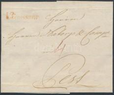1787 Portós levél / unpaid cover, piros / red 'v Temeswar' - Pest