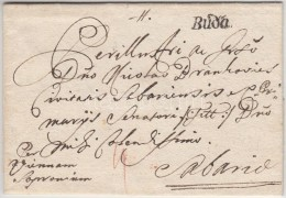 1760 Portós levél tartalommal / unpaid cover with content 'Buda' - Sabaria