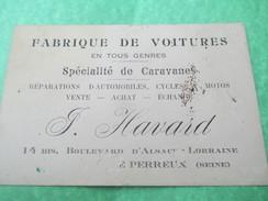 Carte Commerciale/Automobile / Fabrique De Voitures / F Havard/Le Perreux :Seine //Vers 1910-1930       CAC17 - Cartes De Visite