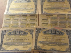 Braïla Tramways Et éclairage électriques . Roumanie.  4 Actions De Dividende Au Porteur 1929 Avec Coupons - Actions & Titres