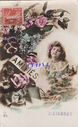 CPA D' AIZENAY (85) - AMITIES - PETITE FILLE Et FLEURS - 1918 - Aizenay