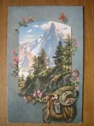 (alpinisme, Chamonix) Aiguille Du Dru Dans Un Encadrement Floral, Vers 1910, TBE. - Chamonix-Mont-Blanc
