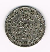 ) SRI  LANKA  1 RUPEE 1963 - Sri Lanka