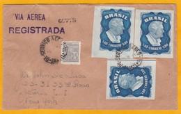 1950 - Enveloppe Par Avion Recommandée Et Scellée Du  Brésil Vers New York, USA - Affrt 12400 Reis - Luchtpost