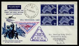 A4647) Australia Airmail Cover From Adelaide 11/23/57 To US - 1952-65 Elizabeth II: Dezimalausgaben (Vorläufer)