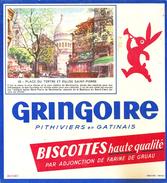 Buvard Biscottes Haute Qualité Gringoire Série Monument Et Lieux Parisiens N°23 Place Du Tertre Eglise St Pierre - Biscottes