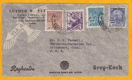1935 - Enveloppe Commerciale Illustrée Par Avion De Sao Paulo, Brésil Vers Bridgeport, USA - Affrt 4200 Reis - Luchtpost