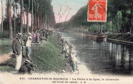 V8168 Cpa 94 Charenton St Maurice -  La Pêche à La Ligne, Le Dimanche Au Bord Du Canal - Charenton Le Pont