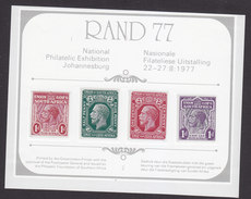 South Africa, Scott #Souvenir Sheet, Mint Hinged, National Philatelic Exhibition, Issued 1977 - South Africa (1961-...)