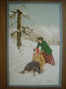(sports D'hiver) Carlo PELLEGRINI: Promenade En Luge. Carte Neuve (n° 116) Vers 1905. - Sports D'hiver