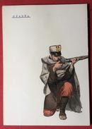 SPAGNA UNIFORMI MILITARI 1862 INFANTERIA  CAZADORES  UNIFORME DE CAMPANA      STAMPA  15x21 - Altri