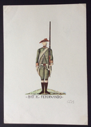 UNIFORMI MILITARI  ANTICHE  BATTAGLIONE REAL FERDINANDO   1765        STAMPA   16x23 - Vieux Papiers