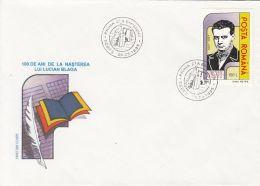 WRITERS, LUCIAN BLAGA, COVER FDC, 1995, ROMANIA