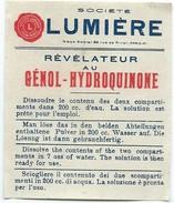 Papillon Publicitaire/Révélateurau Génol-Hydroquinone/ Société LUMIERE/Mode D'emploi/rue De Rivoli /Vers 1920   PHOTN259 - Photography