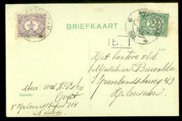 HANDGESCHREVEN BRIEFKAART Uit 1917  GELOPEN Van AMSTERDAM Naar HILVERSUM * NVPH 50 + 55  (10.623R) - Periode 1891-1948 (Wilhelmina)