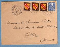 ENVELOPPE 1947 STE GENEVIEVE DES BOIS (78) N° 718A ET 757 X3 - France