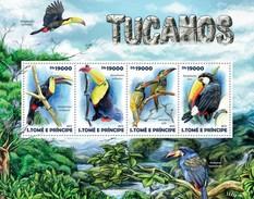 SAO TOME E PRINCIPE 2015 SHEET TOUCANS TUCANES AVES BIRDS OISEAUX UCCELLI PASSAROS St15216a - Sao Tomé Y Príncipe