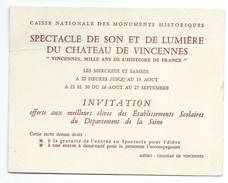 Carton D'Invitation/Spectacle Son Et Lumière Du Château De VINCENNES/1000 Ans De L'histoire De France /1966   INV13 - Cartes De Visite