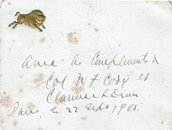 LBEL2- BUFFALO BILL SOUVENIR DU CIRCUIT EN FRANCE DE 1905 CARTE DE VISITE AVEC LES COMPLIMENTS DE LA PART DU COL. W.CODY - Autographes
