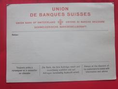 UNION DES BANQUES SUISSES SIÈGE CENTRAL A ZURICH Facture & Document Commercial - Banque & Assurance