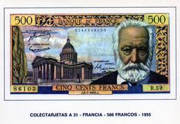 Cpsm Reproduction D'un Billet De 500 Francs 1955 (victor Hugo), (20.76) - France