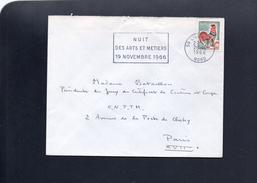 """Flamme 59 Lille Gare 1966   """"Nuit Arts Et Métiers 19 Novembre 1966"""" - Storia Postale"""