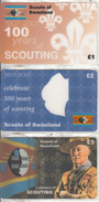 UK - 100 Years Of Scouting 1907-2007/Scouts Of Swaziland, Set Of 3 Nationwide Telecom Prepaid Cards 1-2-3 Pounds, Mint - Swaziland