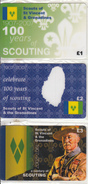 UK - 100 Years Of Scouting 1907-2007/Scouts Of St Vincent, Set Of 3 Nationwide Telecom Prepaid Cards 1-2-3 Pounds, Mint