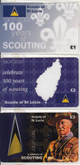 UK - 100 Years Of Scouting 1907-2007/Scouts Of St Lucia, Set Of 3 Nationwide Telecom Prepaid Cards 1-2-3 Pounds, Mint - Saint Lucia