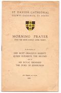 St Davids Cathedral Eglwys Gadeiriol Ty Ddewi - Morning Prayer - Queen Elizabeth - The Duke Of Edinburgh - 1955 - Books, Magazines, Comics