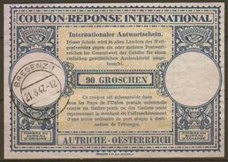 AUSTRIA / OESTERREICH London Type XIV 90 GROSCHEN Internat. Reply Coupon Reponse Antwortschein IAS IRC O BREGENZ 21.8.47
