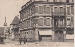 67 - MOLSHEIM - RUE DES VOSGES ET TEMPLE PROTESTANT - Molsheim