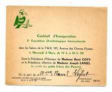 COCKTAIL 3e Exposition Ornithologique Internationale PETITS FRERES DES PAUVRES  R.Coty J.Laniel G.Monnerville G.Bidault - Faire-part