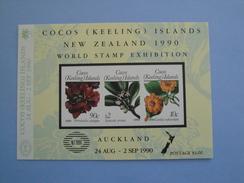 1990  Cocos Islands Yvert BF 10 ** Fleurs Flowers Scott 217  Michel B 10 SG Ms 229 Expo Auckland - Cocos (Keeling) Islands