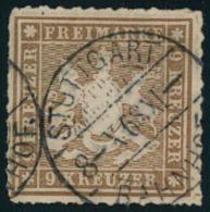 """1865, 9 Kreuzer Durchstochen Gestempelt STUTTGART. Billigst, Wahrscheinlich """"""""b"""""""" Farbe. - Baden"""