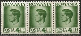 Romania 1945 Scott 572 MNH Strip Of 3 Recto-verso King Michael - 1918-1948 Ferdinand, Charles II & Michael